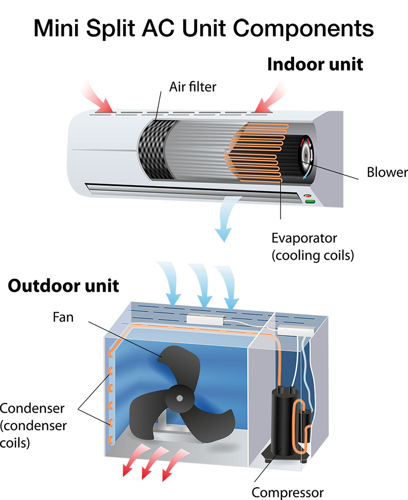 look inside the ductless mini split air conditioner with air filter, blower, evaporator, and the outside unit with condenser coils and compressor