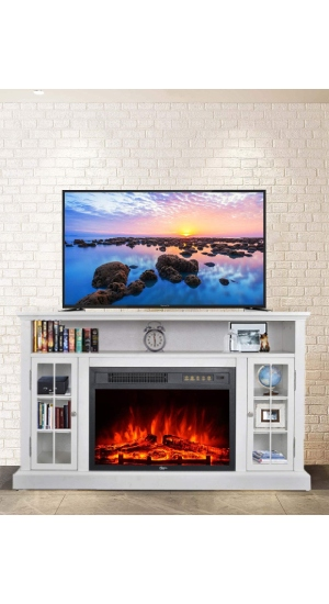 Best Electric Fireplace With TV Stand (All-In-One) GMHome EF-30AKF White