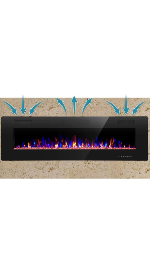 Best Wall-Mounted Electric Fireplace (Affordable) R.W.Flame 60″