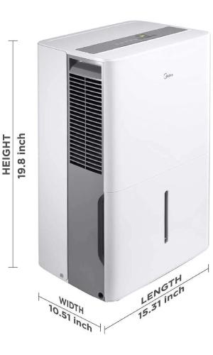 MIDEA MAD35C1ZWS: Most Quiet Small Dehumidifier (49-51 dB)