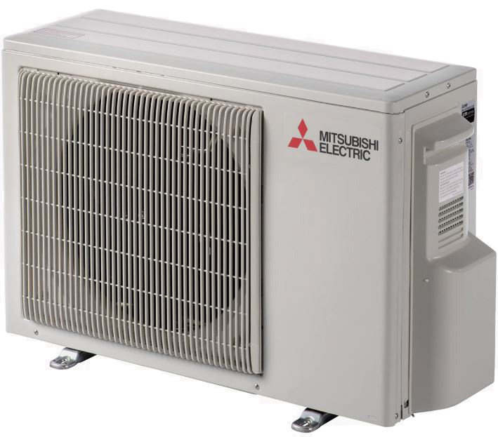 mitsubishi ductless air conditioner's outdoor unit with fan and compressor