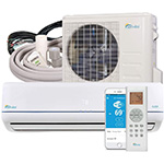 Senville 12 HFZ condensing unit, wall mounted unit, refrigerant lines in neopren and the wi-fi app or alternatively a remote control