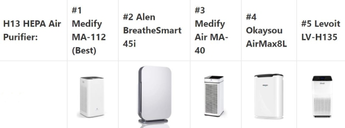 best hepa air purifiers with h13 filters