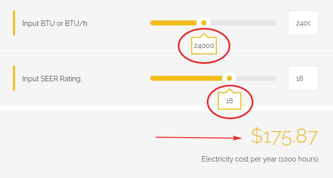 calculation of electricity bill based on 18 seer rating