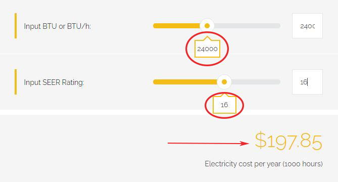calculation of electricity bill based on 16 seer rating