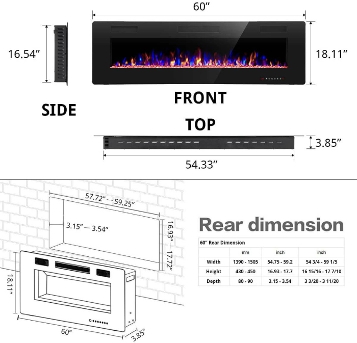 dimensions of a rw flame electric fireplace