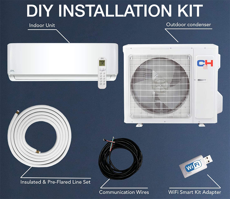 COOPER AND HUNTER CH-12SPH-115VI/O-WK Installation kit includes: Outdoor consdenser, indoor unit, line set, comm wires and a WiFi USB adapter