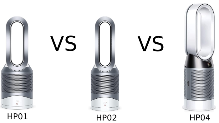 comparison of hp01 versus hp02 versus hp04 from dyson pure hot+cool air purifier series