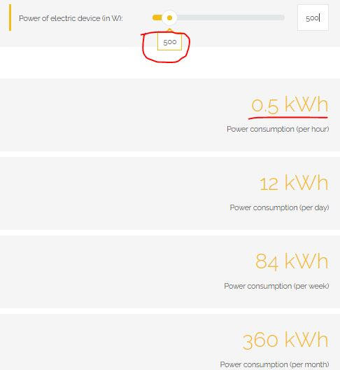 calculation on electricity usage