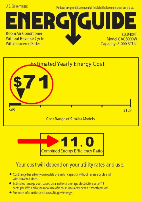 most energy efficient casement air conditioner with energyguide