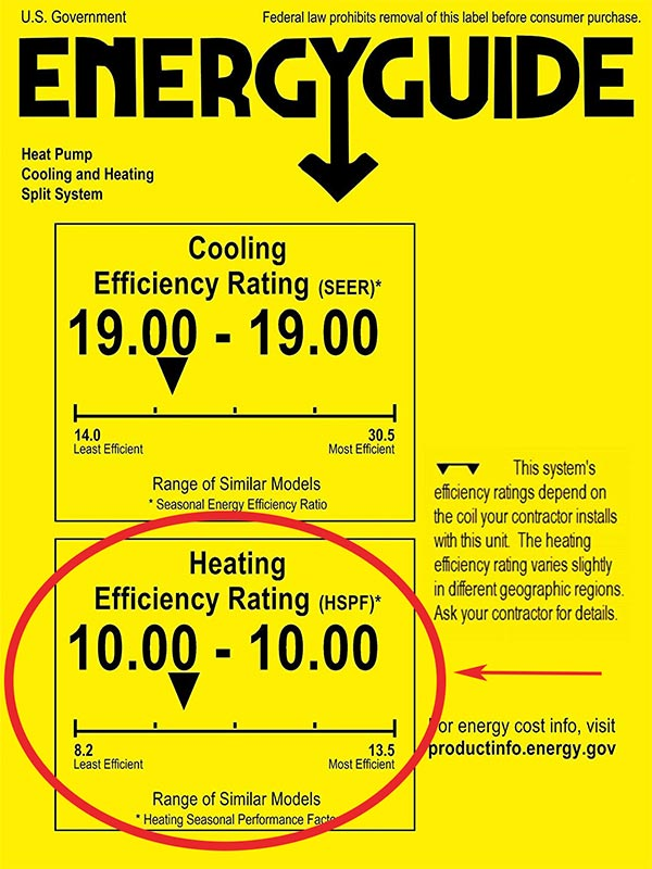 energy guide hspf rating of heat pumps