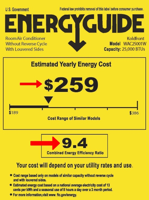 energystar cost of operation of the biggest window ac units with 24500 btu