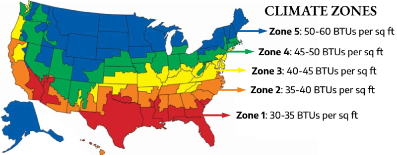 climate zones to calculate how big a furnace you need