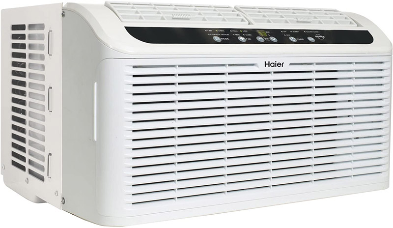 side shot of a haier window ac conditioner with visible filters