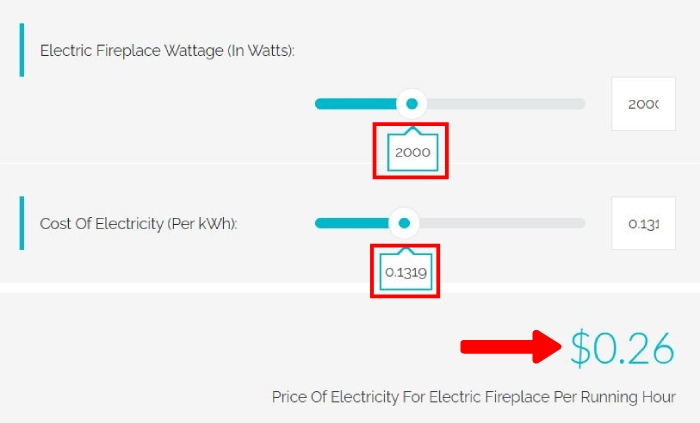 how much does it cost to run a 2000 watt electric fireplace per hour