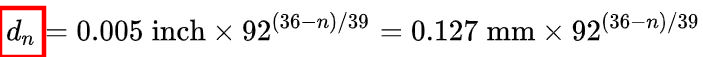 Formula for calculating the diameter of an AWG wire (n denotes the AWG gauge number):