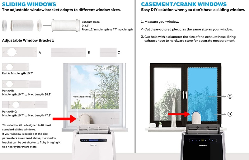how to install portable ac with heater through the window or sliding door