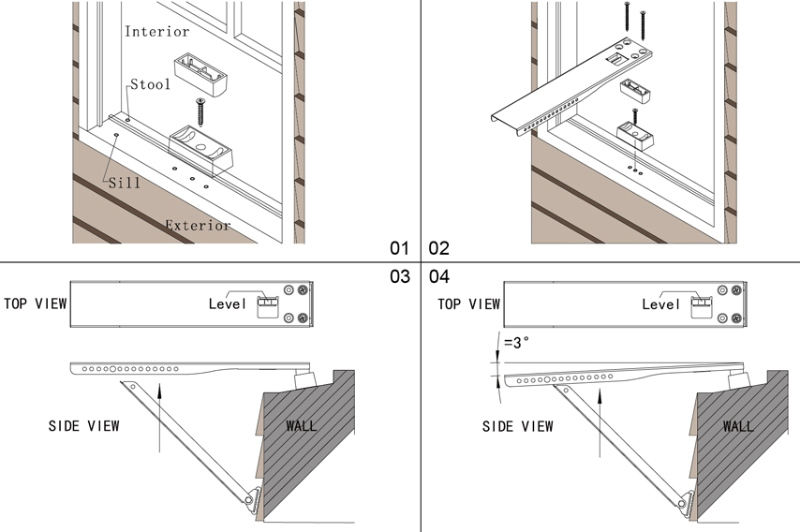 how to mount a window ac bracket on the window sill