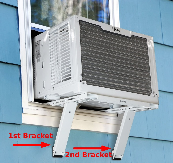 how to support window air conditioner on the outside wall