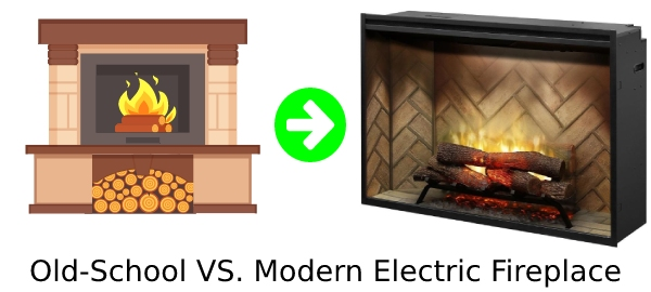 modern electric fireplace insert compared to old school fireplace