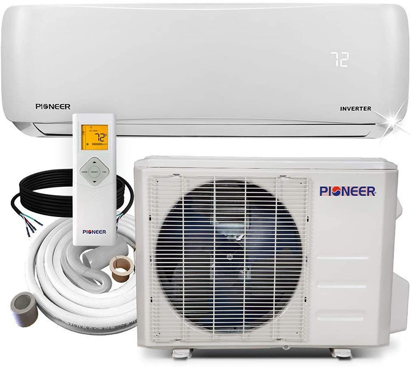 pioneer WYS012AMFI19RL with the outdoor unit, indoor unit, refrigerant line and a remote control
