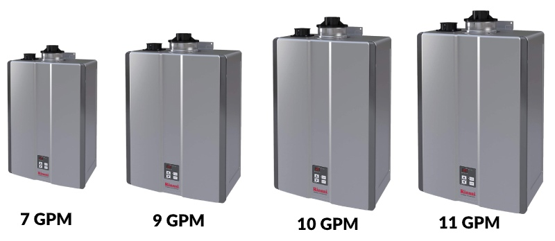 choosing size of tankless gas water heater with 7 gpm, 9, gpm, 10 gpm and 11 gpm