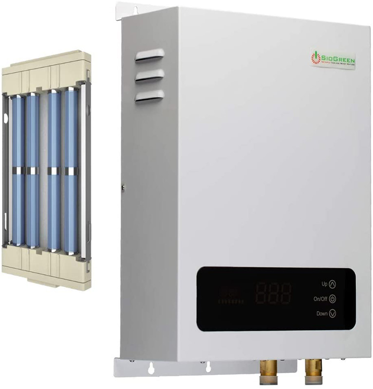 infrared tankless water heater with quartz tubes to heat water quickly