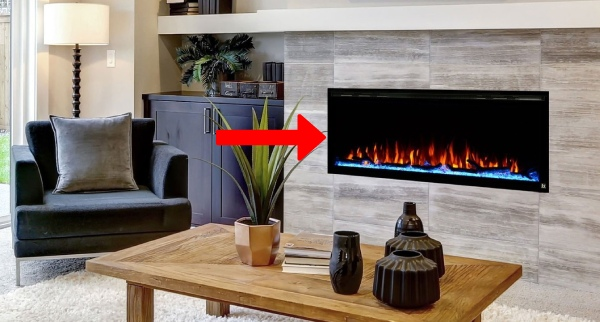 wall hanging electric fireplace type