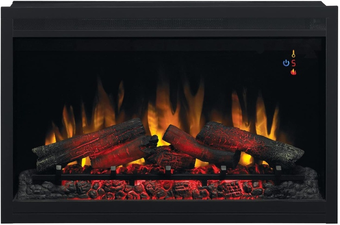 lifelike flames in a wall hung electric fireplace