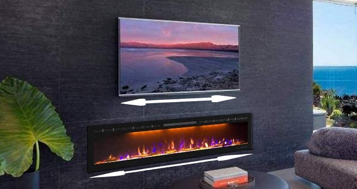 electric wall fireplace installed below the tv