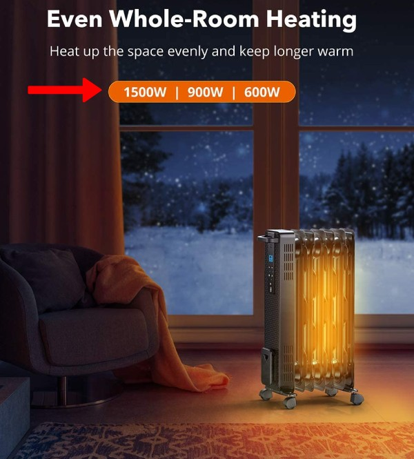 wattage of large room electric space heaters with up to 1500w or 5000 btu heating output