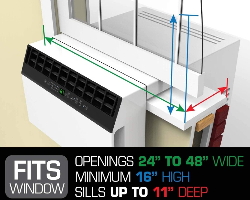 window dimensions for saddle air conditioner