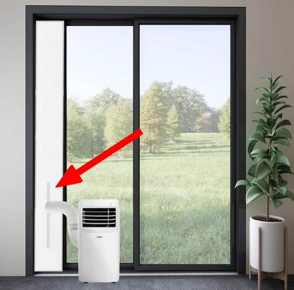 without a window you can vent portable AC unit through a sliding window